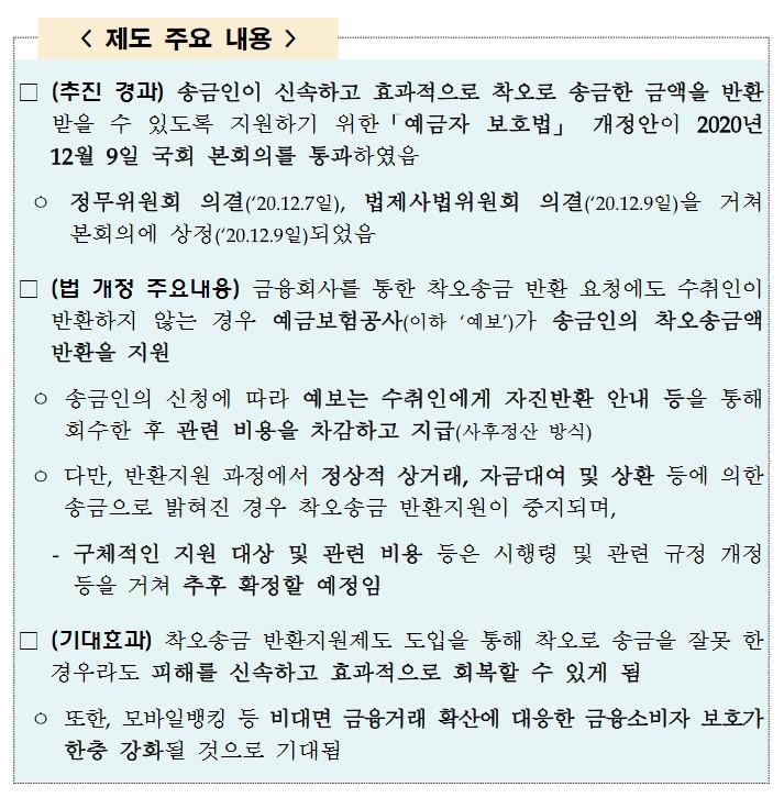 [금융위원회] 21년 7월부터「착오송금 반환지원 제도」시행됨