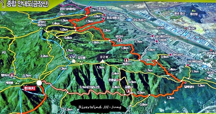 범어사 은동굴 장군봉 등산 지도