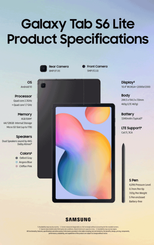 galaxy tab s6 specifications