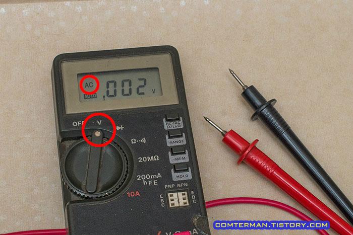 멀티테스터 교류전압측정 ACV