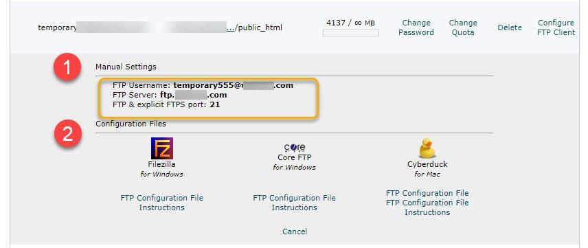 해외호스팅 사이트그라운드 FTP 접속 - 구성 파일