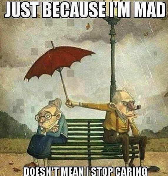 부부 화났지만 우산