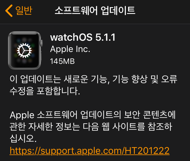 Apple Watch 3에 watchOS 5.1.1 설치