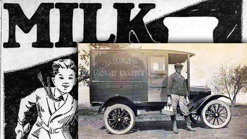 사진: 1920년대의 우유 광고와 우유 배달원