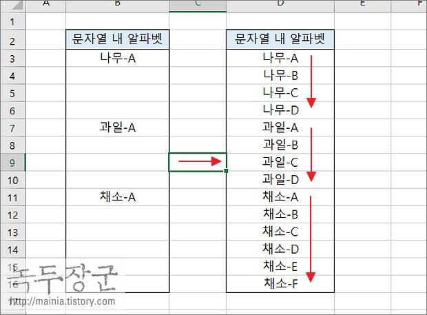 엑셀(Excel) CODE, CHAR 함수 이용해서 영문자 알파벳 자동 증가시키는 방법