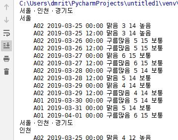 파이썬, 기상청 xml 데이터 가져와서 날씨 뿌리기 (rss 파싱)
