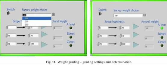 그림 11. weight grading - grading settings and determination