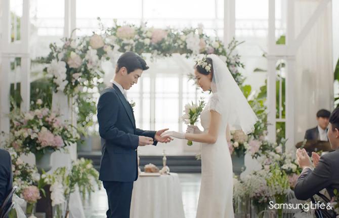 신랑 신부 결혼 반지 서약 축하