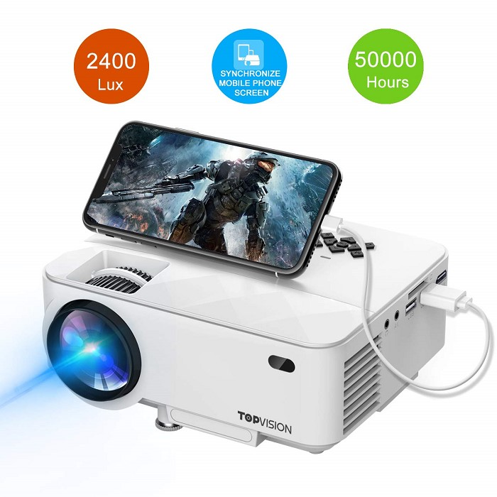 빔프로젝터!Mini Projector TOPVISION 2400Lux Project관부가세 포함 One Color