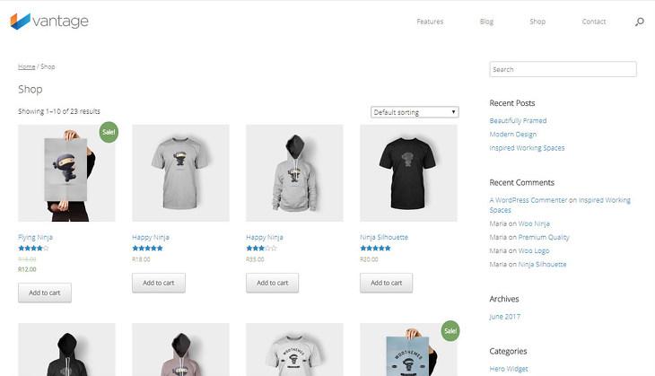Vantage - wordpress eCommerce Theme
