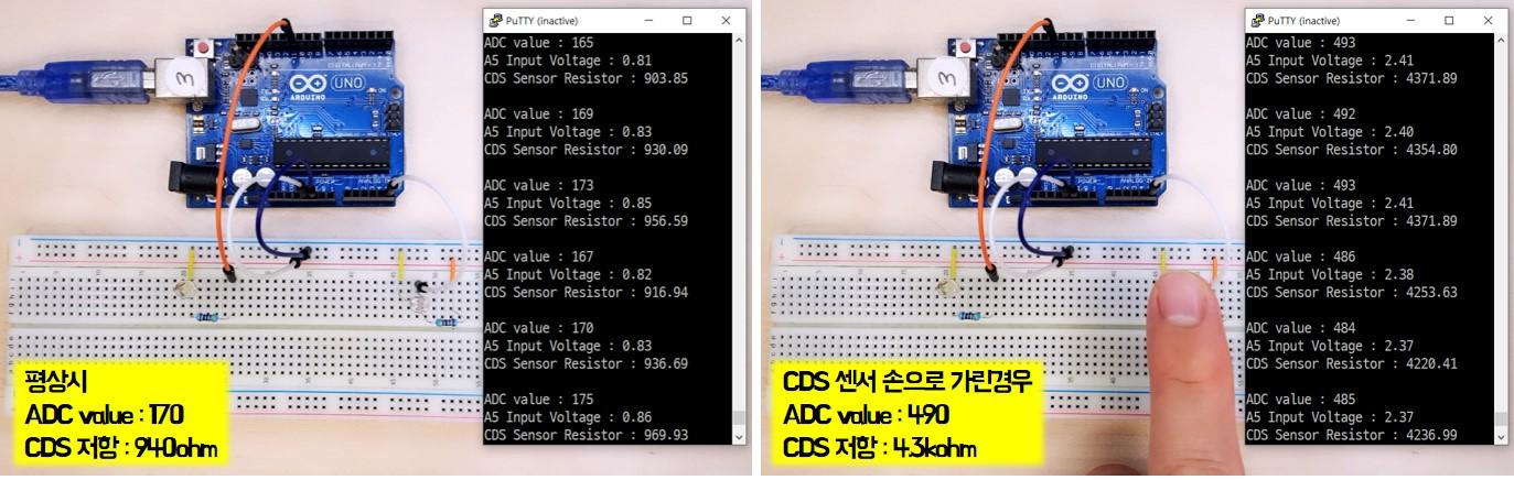 CDS 센서 측정 결과