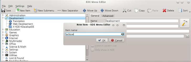KDE 메뉴 에디터