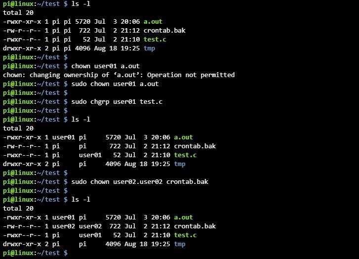 리눅스 chown chgrp 명령어 사용 파일 소유권 변경