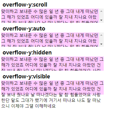 [HTML/CSS] overflow-y 속성
