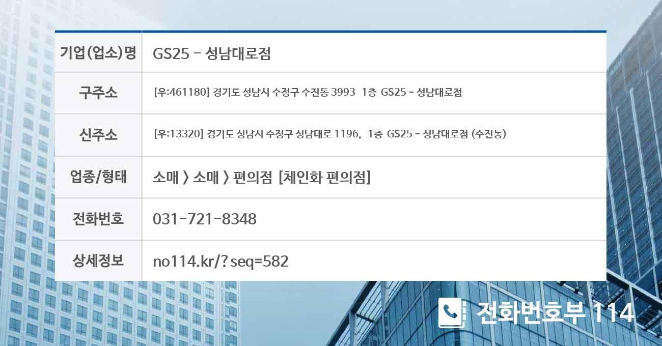 [성남시 수정구 수진동] GS25 - 성남대로점 전화번호 위치 및 약도
