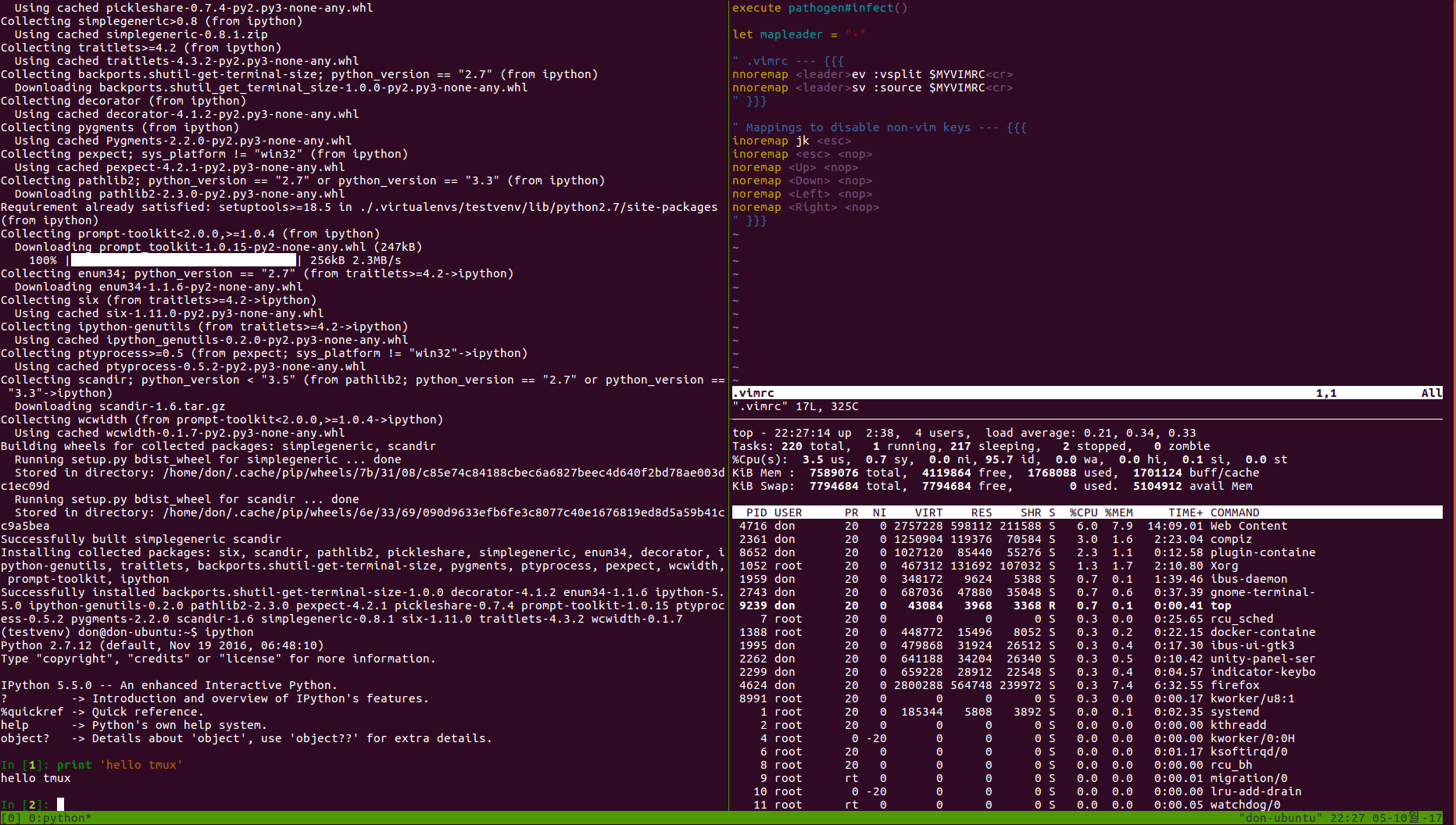 tmux working example