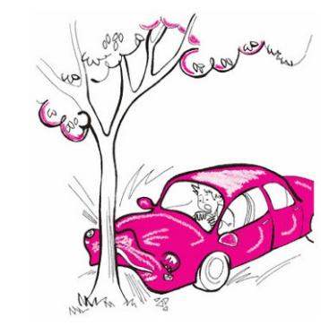 십대 소년의 엄마의 자동차를 나무에 들이박다.