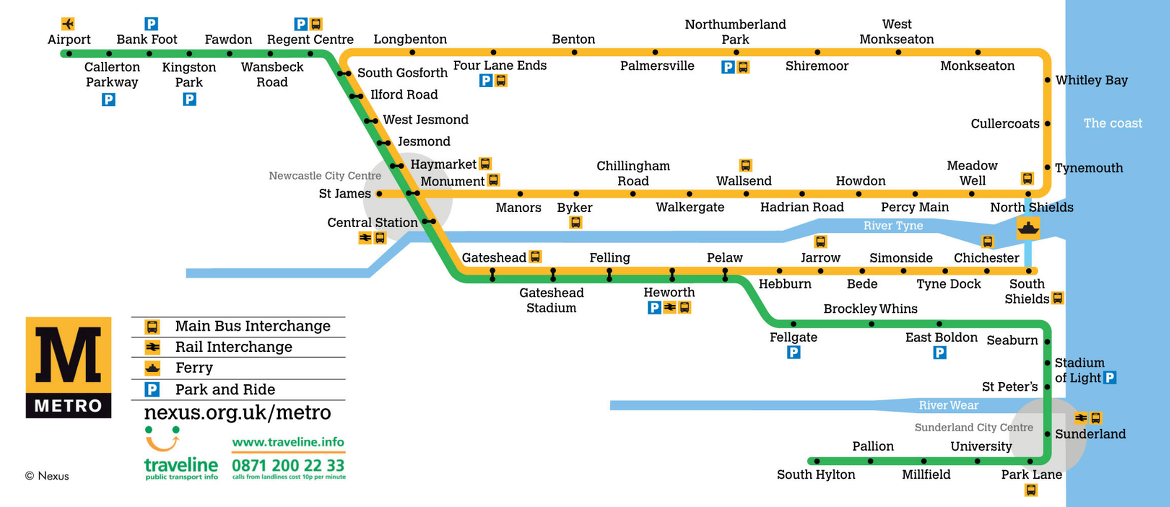 Newcastle upon Tyne Subway Map
