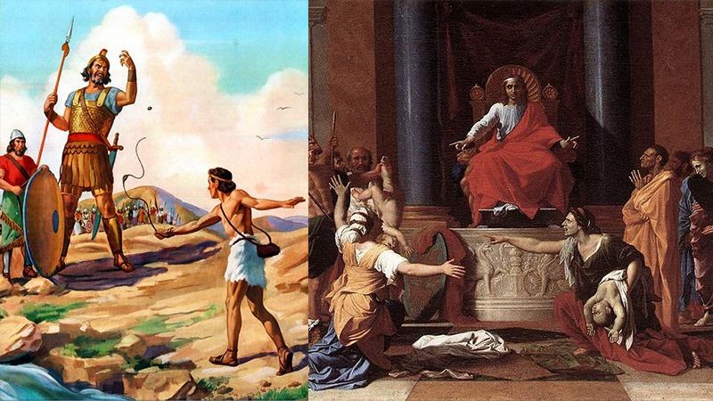 사진: 골리앗을 쓰러트리는 다윗(왼 쪽)과 유명한 판결을 내리는 솔로몬(오른쪽)의 그림.