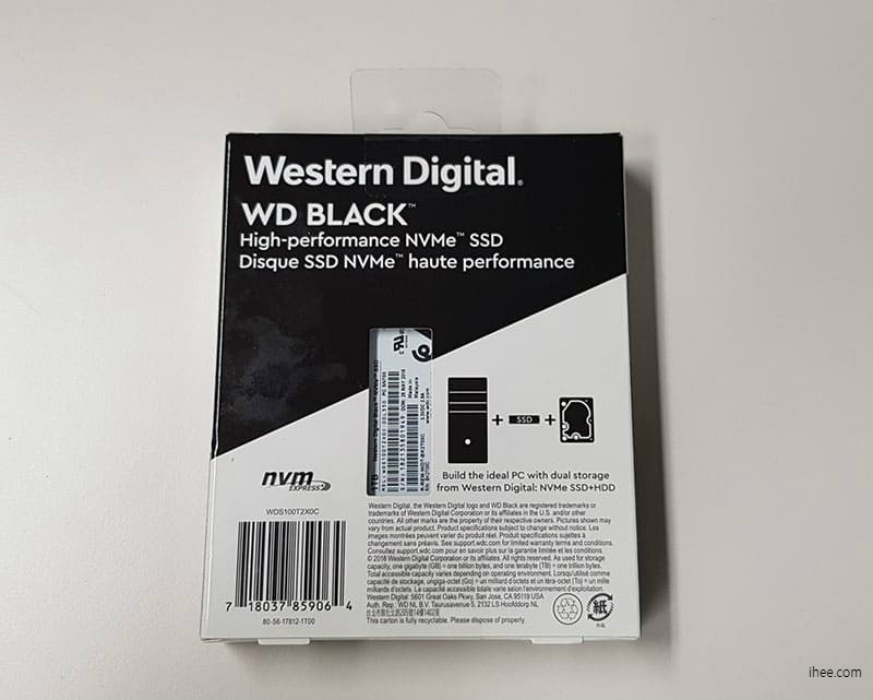 WD Black 3D NVMe SSD 1TB 박스 뒷모습