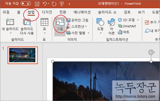 파워포인트 PowerPoint 컬러사진 흑백으로 변경하는 방법