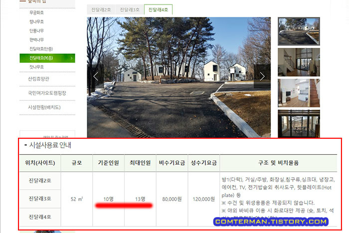 옥화자연휴양림 홈페이지 진달래 기준인원