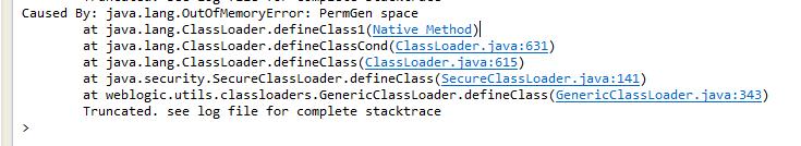 Eclipse + Weblogic 개발환경에서 Caused By: java.lang.OutOfMemoryError: PermGen space 오류