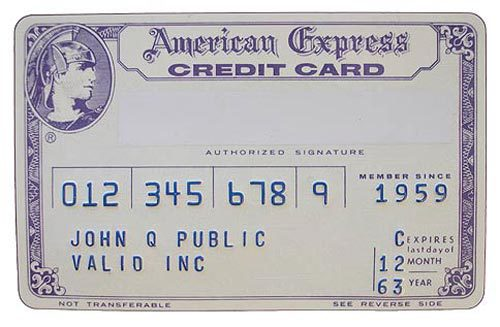 American Express First Plastic Credit Card