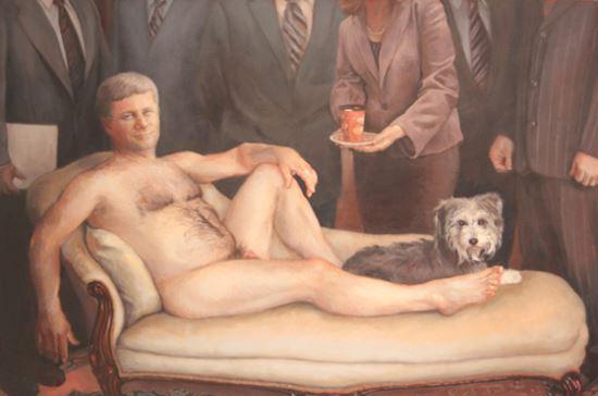 2012년 캐나다의  여성화가 마가렛 서덜랜드가 당시 의스티븐 하퍼 총리를 여성 누드로 묘사한  작품.  보수당의 보수적인 성 (性)정책을 비판하기 위해 마네의 '올랭피아'를 패러디했다.