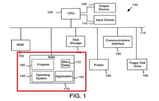 데이터 태핑 특허권 개념도. 165번과 167번이 별도로 분리돼 있는 것이 애플 특허권의 핵심이다. (사진=미국 항소법원 판결문)