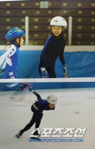 처음 쇼트트랙 스케이트를 배우기 시작했던 초등학교 시절의 김보름.