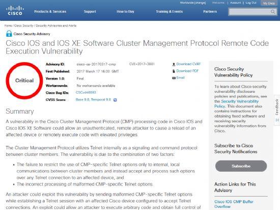 시스코 IOS 및 IOS XE 기반 카탈리스트 스위치 장비에서 클러스터관리프로토콜(CMP) 처리 코드상의 심각한 보안취약점이 발견됐다는 보안 공지.