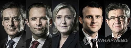 왼쪽부터 프랑수아 피용, 브누아 아몽, 마린 르펜, 에마뉘엘 마크롱, 장뤼크 멜랑숑 [AFP=연합뉴스]