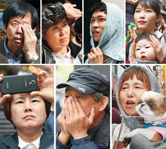 대선에 쏠린 눈 : 제19대 대통령 선거를 18일 앞둔 21일 전국 각지의 유세장에서 유권자들이 다양한 표정으로 후보들의 말에 귀를 기울이고 있다.   김선규·신창섭 기자 ufokim@