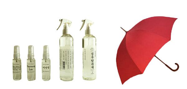 ⓒ팩토리얼 제공 태원산업의 섬유탈취제(왼쪽)와 두색하늘의 우산은 소비자로부터 좋은 반응을 얻었다.
