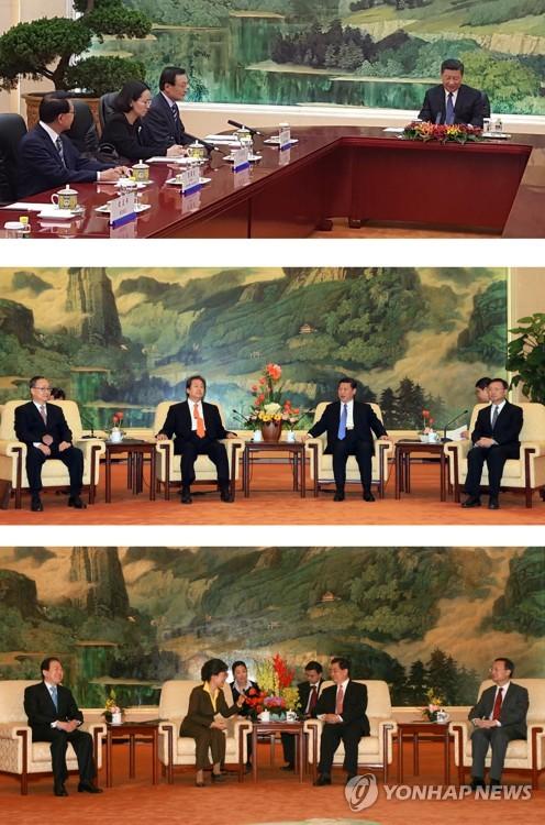 (베이징=연합뉴스) 시진핑 중국 국가 주석이 19일 문재인 대통령의 중국 특사인 이해찬 전 국무총리를 만나면서 시 주석은 베이징 인민대회당 푸젠팅에서 테이블 상석에 앉고 이 전 총리는 테이블 옆에 앉도록 해 좌석배치가 시 주석 주재의 업무회의를 하는 형식이 됐다.(사진 위)      이런 좌석배치는 2013년 1월 23일 박근혜 대통령 당시의 김무성 특사가 시 주석과(가운데), 2008년 1월 17일 이명박 대통령 당시의 박근혜 특사가 후진타오 당시 주석 옆에 나란히 앉은 것(아래)과 비교된다. 2017.5.19 [연합뉴스 자료사진]      photo@yna.co.kr