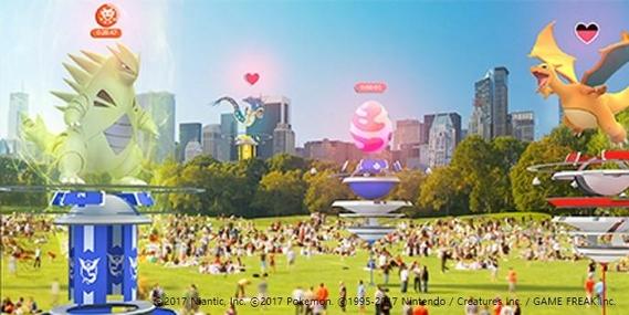 포켓몬 고 레이드배틀이 펼쳐지면 나타나는 화면과 이를 둘러싼 사용자들을 형상화한 가상 이미지. /나이앤틱 제공