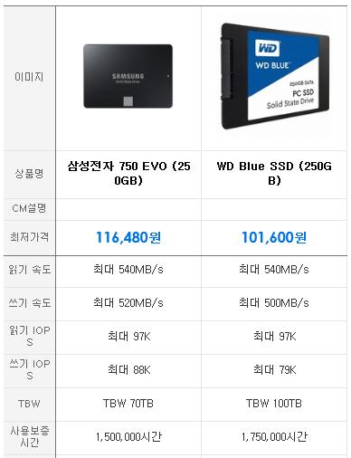 삼성 750 EVO 시리즈와 WD Blue SSD의 사양 비교