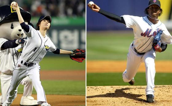 '홍드로'라는 별명이 있는 배우 홍수아(왼쪽), 메이저리그의 페드로 마르티네스. [중앙포토]