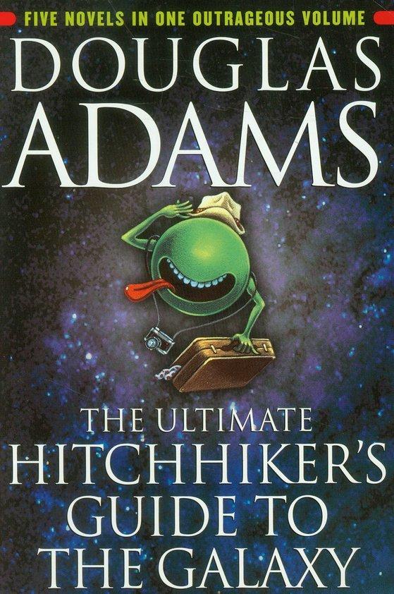 영국 작가 더글러스 애덤스의 SF소설 『은하수를 여행하는 히치하이커를 위한 안내서』 시리즈 전편은 2002년 한 권으로 묶여 출간됐다.