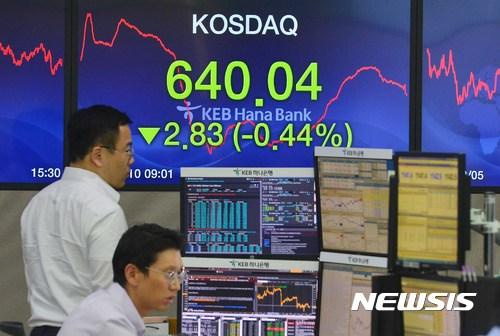 【서울=뉴시스】고승민 기자 = 북한과 미국의 무력 충돌 우려가 높아지며 코스피가 2340선 밑으로 떨어진 10일 오후 서울 중구 KEB하나은행 딜링룸에서 딜러들이 업무를 보고 있다. 이날 코스피지수는 전거래일 대비 8.92p(0.38%) 내린 2359.47로 마감됐다. 한편 코스닥지수는 2.83p(0.44%) 내린 640.04로 마감됐다. 2017.08.10. kkssmm99@newsis.com