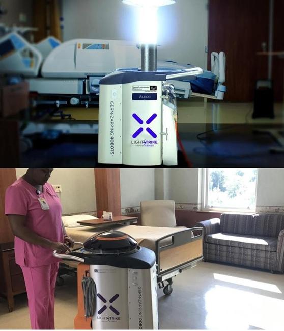미국의 제닉스 로보틱스가 개발한 살균 로봇 '라이트스트라이크.' 10분이면 에볼라 등 치명적인 바이러스를 살균할 수 있다./사진=제닉스 로보틱스