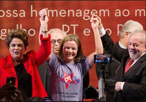 노동자당 행사에 참석한 지우마 호세프 전 대통령(왼쪽)과 글레이지 호프만 노동자당 대표(가운데), 룰라 전 대통령(오른쪽)[브라질 뉴스포털 UOL]