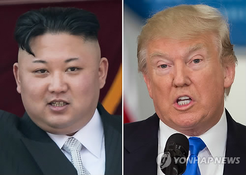 """(워싱턴 AFP=연합뉴스) 도널드 트럼프 미국 대통령(오른쪽)과 김정은 북한 노동당 위원장의 합성사진. 괌 포격을 위협하던 김정은 위원장이 당분간 미국의 행태를 지켜보겠다며 한발 뒤로 물러서는 모습을 보이자 트럼프 대통령은 16일(현지시간) 자신의 트위터에 올린 글을 통해 """"북한의 김정은이 매우 현명하고 상당히 논리적인 결정을 내렸다. 안그랬다면 재앙적이며 용납할 수 없는 일이 일어났을 것""""이라고 밝혔다      ymarshal@yna.co.kr"""