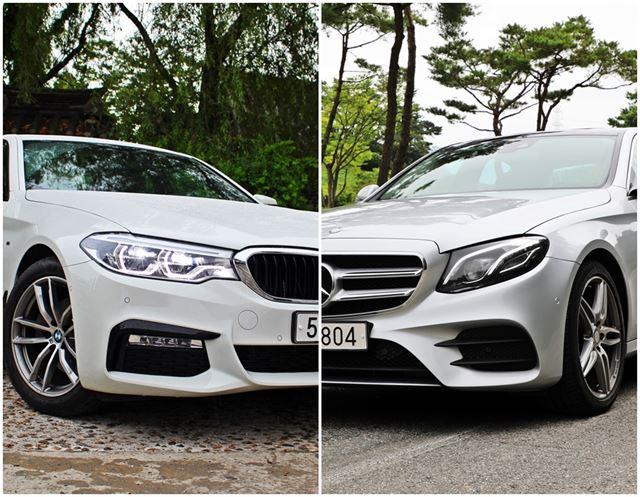BMW 520d와 메르세데스 벤츠 E 350d를 각각 타봤다. 사진=조두현 기자