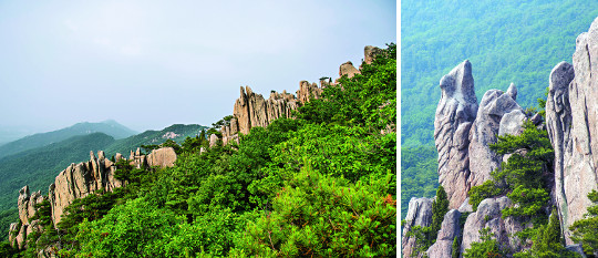 충남 홍성8경 중 제1경인 용봉산은 그리 높은 편은 아니지만 기암괴석이 많아 '작은 금강산'이라 불릴 정도로 수려한 자연경관을 자랑한다. 악귀봉 낙조대에서 바라본 장군바위(왼쪽 사진)와 두꺼비바위.