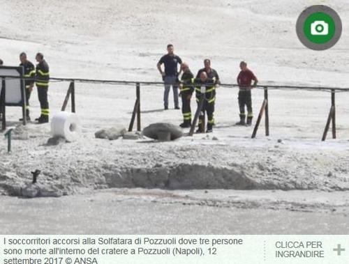 일가족 3명이 관광을 왔다 목숨을 잃은 이탈리아 남부 포추올리 화산의 분화구 [ANSA홈페이지 캡처]