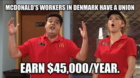 덴마크 비정규직의 고임금을 풍자한 이미지. 덴마크에서는 맥도날드에서 아르바이트를 해도 노동조합을 설립할 수 있고 1년에 4만5000달러를 벌 수 있다는 얘기를 듣고 놀라는 모습<출처=인터넷 커뮤니티>