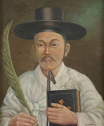 장발을 가톨릭미술의 선구자로 불리게 한 대표작 '김대건 신부상'. 1920년 19살 때 용산중학교 교장 기낭 신부의 사제수품 은경축 기념으로 그렸다.