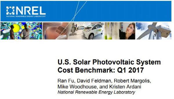 전력망 공급용 태양 에너지 가격인하 목표가 3년 앞서 달성했다고 발표한 NREL의 보고서 표지